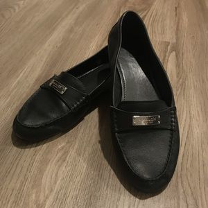 Coach black leather loafer